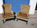 2-Matching Vintage Cloth Wing Back Chairs