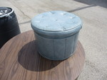 Vintage Round Blue Leather Hidden Shoe/Bottle Storage Ottoman.