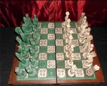 VINTAGE SPANISH AZTEC MAYAN CHESS SET