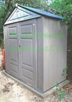 Rubbermaid storage shed includes Concrete stepping stone squares for base