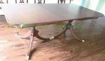 1940s Mahogany Traditional Double Pedestal Dining Room Table