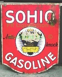 "Vintage 1940's ""Sohio gasoline"" enameled tin sign"