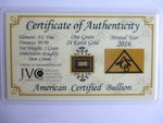 1-Grain of 24-Karat Gold, With a Certificate of Authenticity