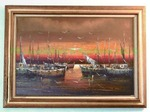 DeMarco framed nautical theme original oil painting