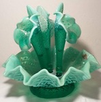 "Fenton Hobnail Epergnes  3 Lily green uranium glass (looks great under black light) base 11"" wide,  horns 10"" long"