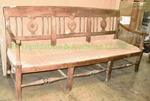 Western theme wood and fiber rush seat patio bench, 73 x 35 x 22