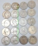 Silver pre-1965 Washington quarters, 20 count