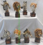 "New, Safari animals busts, Zebra, Giraffe, Lion, Tiger, each 5.75"" tall, 8 count"