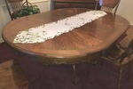 SOLID OAK CLAW FOOT DINING TABLE, MATCHES LOT 10