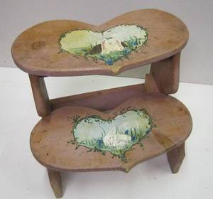 Solid Wood Stepstool w/ Heart-shaped Steps