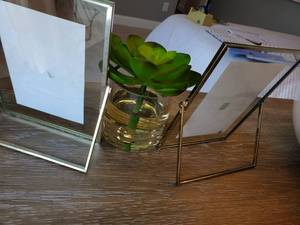 Pair of Floating Table Frames & Faux Succulent
