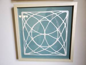 Framed with Glass Raised Pearly Design on Green Paper