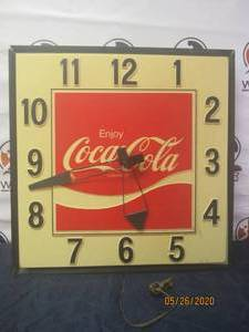 LARGE VINTAGE COCA COLA ADVERTISING ELECTRIC LIGHT UP WALL SQUARE CLOCK 36""