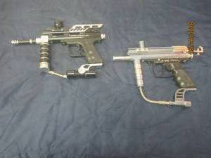 TOTAL OF 2 PAINT BALL GUNS - GAME FACE BONE DADDY RG - JAVA SPYDER XTRA