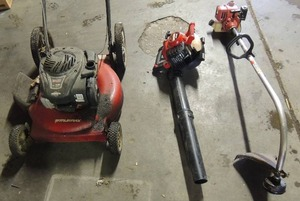 Murray 500 series lawn mower (no gas cap) 149cc by Briggs and Stratton, Craftsman speed start blower 27cc SX-135 Homelite bandit weed eater gas powered smooth operated