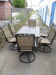 7-Piece Outdoor Dining Set.Metal Table and 6- Swival/Rocker  Arm Chairs
