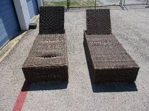 2-Plastic Wicker Adjustable Back Chaise Loungers