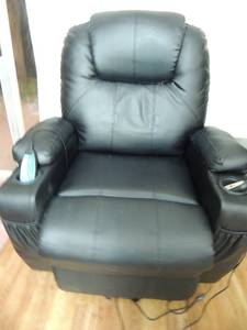 Chair- electric lift power recliner heated vibration massage - Black  LIKE NEW