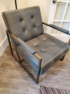 Faux Leather Chair with Metal Frame
