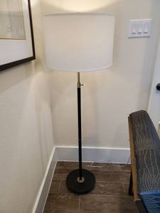 Metal Floor Lamp with Cream Linen Drum Shade
