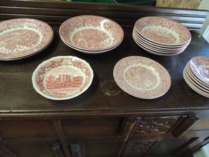 England A Quila Dishes- 2 large soup bowls, 1 dinner plate, 5 coffee cups and 15 dessert plates