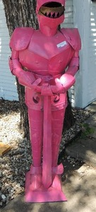 "Pink knight armor statue 62.5"" tall"