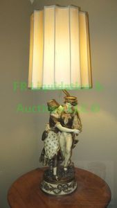 "Vintage Gaudez collection francaise metal sculpted figural lamp with hand sewn shade by ""Diane"""