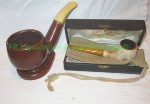 Murat Meerschum hand crafted bone tobacco pipe with original box and figural ceramic pipe ashtray