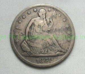Antique Silver 1861 S (San Francisco mint) Seated Liberty Half Dollar