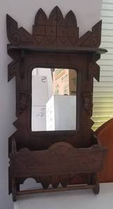 VINTAGE WALL MIRROR WITH WOODEN FRAME/DISPLAY