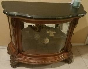 MARBLE TOP WITH GLASS DISPLAY ENTRY / HALL TABLE
