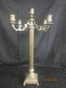 ANTIQUE SILVER 32.5 ' HEIGHT 5 ARM CANDELABRA CANDLE HOLDER FLOOR STANDING OR TABLE TOP