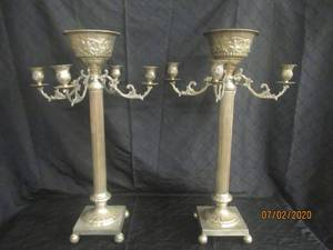 "DUO ANTIQUE SILVER  30"" HEIGHT 4 ARM CANDELABRA CANDLE HOLDER WITH CENTER TOP FLOWER BOWL  FLOOR STANDING OR TABLE TOP"