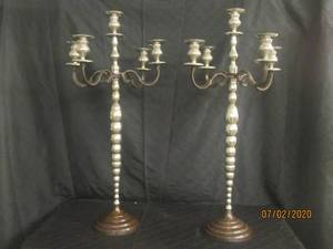"DUO ANTIQUE  SILVER 40"" HEIGHT  5 ARM CANDELABRA CANDLE HOLDER FLOOR STANDING OR TABLETOP MADE IN INDIA"
