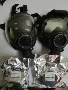 2- Authentic MSA Millennium CBRN 40mm Gas Mask Medium OEM Full Face MSA Respirator, With 2-Filter Cartridges