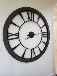 LARGE Metal & Wood Wall Clock