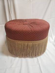Tufted Oval Stool with Fringe