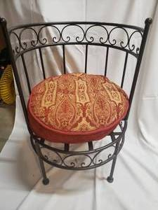 Wrought Iron Stool Chair with Cushion