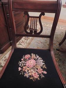 Lyre Back Vintage Chairs with Black needlepoint floral seats 6 chairs -  1 Captain chair 5 side chairs - AMAZING