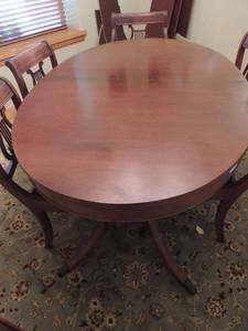 Finch Duncan Phyfe Dining Room Table Size 53 x 42. Extendable with 3 leaves to 80 x 42,  3 section brown and white table pad.- NOTE NO CHAIRS IN THIS LOT
