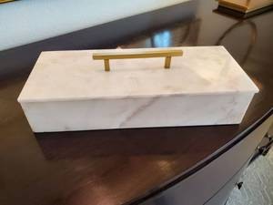 Keely Marble Lidded Box by IMAX