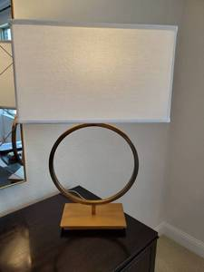 Gold Tone Metal Circle Lamp
