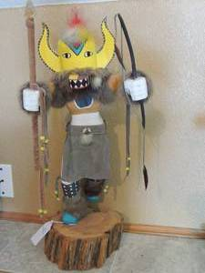 Kachina Dancing Fox 23 x 10 on wooden stand - SIGNED M. H. Fox, L-223    HANDMADE BY NEW MEXICO ARTIST