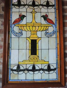 Birds at Fountain Stained glass 37x23 Stunning