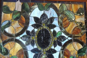 BEAUTIFUL STAINED GLASS - BLUES, GREENS & BROWNS   24x27  on chain