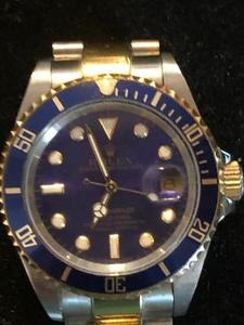 Rolex  Blue Oyster Face Submariner Watch - UNVERIFIED - note no serial numbers