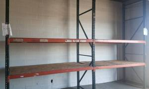 Two-section pallet rack in solid condition as shown. **Buyer is responsible for proper breakdown and removal** PLEASE NOTE: DELAYED PICK UP ON THIS ITEM BETWEEN 4:00 - 6:00 PM