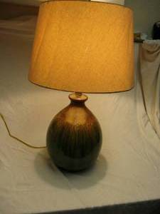 Large Classic Ceramic Vessel Shape Desk Lamp, Beautiful Green With Dripping Brown And Gold Glaze, And Shade