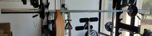 BARBELL WITH WEIGHTS AS SHOWN. YOU ARE BIDDING ONLY ON THE BAR/WEIGHTS.