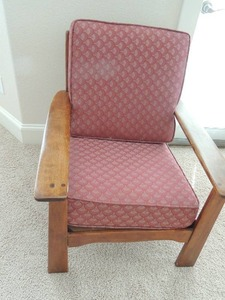 Vintage  Solid Wood Chair (  WAS IN A Dental Office Waiting Room  1930s)  Red cushions and throw pillow